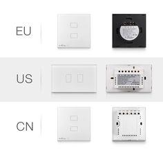 BroadLink TC2 3-Gang RF 433MHz Remote Control Smart Touch Wall Switch Panel - White + Black(EU Plug) - Free Shipping - DealExtreme