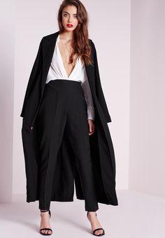 Missguided - Pantalon cigarette noir à taille haute