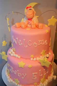 Baby Girl Shower Cake. Baby sheep and stars