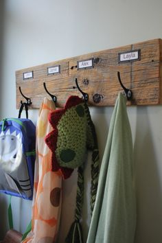 Barn Wood Coat Rack Labeled Organizer by bluebirdheaven on Etsy