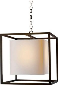 Carlotta Lantern with Paper Shade in Bronze Finish Canopy-7