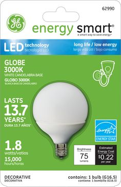 GE Energy Smart 10W Replacement (1.8W) Globe G16.5 LED Bulb (Warm, White, E12, Energy Star) $19.95