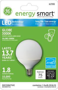 GE Energy Smart 10W Replacement (1.8W) Globe G16.5 LED Bulb (Warm, White, E12, Energy Star) $19.95