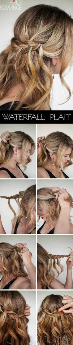 Hair Romance - Waterfall Plait hairstyle tutorials she has used hair from each side and then met in the middle Plaits Hairstyles, Romantic Hairstyles, Cool Hairstyles, Wedding Hairstyles, Everyday Hairstyles, Gorgeous Hairstyles, Updo Hairstyle, Hairdos, Style Hairstyle