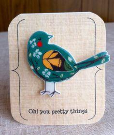 Broche oiseau jaune et vert printemps par Ohyouprettythings77, £6.50
