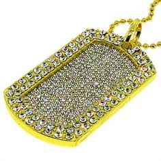 Luxury Men's Dog Tag Pendant with 38'' Necklace - 24k Gold Plated - Heavy Bling