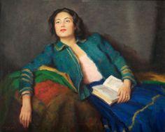 Sonhando acordada, s/d, Janos László Aldor (Hungria, 1895-1944), óleo sobre tela, 64 x 98 cm, -