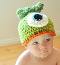 PDF Pattern for Crochet Monster Baby Beanie Hat with Permission to Sell What You Make. $4.50, via Etsy.