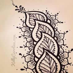 Drawing Ink Henna style leaves - /pamelascraft/zenadoodle/ over Henna Designs Easy, Henna Tattoo Designs, Mehndi Designs, Henna Patterns, Zentangle Patterns, Zentangles, Doodle Drawings, Doodle Art, Easy Drawings