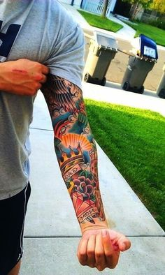 "This AWESOME sleeve tattoo also has ""mom"" and ""dad"" in it which makes it even cooler to me."