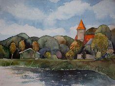 Herbst auf Rügen und ein Aquarell vom Jagdschloss Granitz   Middelhagen im Herbst (c) Aquarell von Frank Koebsch
