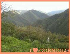 #Autunno a #Corniolo. Non c'è il sole. I boschi sui pendii delle montagne iniziano a cambiare colore. Da lontano, sulla cima più alta, si scorge un po' di neve.