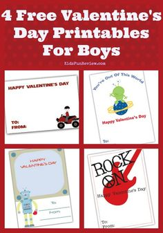 4 Free Cute Printable Valentines Day Mini Cards for boys