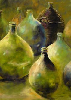 Green Bottles pastel by Christine Bowman