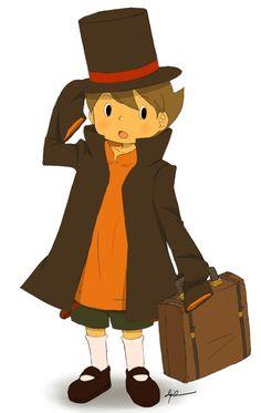 Awwwww, Luke is wearing Professor Layton's clothes to dress up as him! So cute!