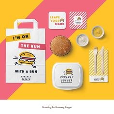 Branding Runaway Burger on Behance Burger Branding, Burger Packaging, Food Branding, Food Packaging Design, Restaurant Branding, Logo Food, Packaging Design Inspiration, Brand Packaging, Branding Design