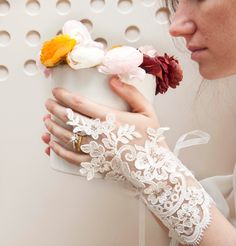 Bridal Ivory Gloves- Fingerless- Accessories- Bridal Style- Wedding Fashion Accessory- Bridal Accessories- Wedding Cuffs- Bride. $34.00, via Etsy.