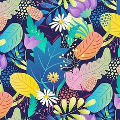 regran from @design.nina - Moon dance flowers pattern. #design #textile #pattern #flowers #designnina #surfacespatterns #surfacedesign