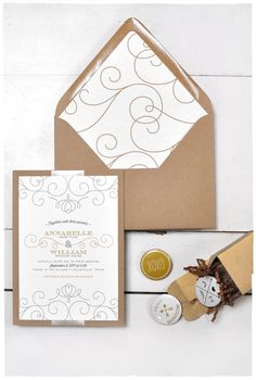 Debonair Wedding Invite Suite with Ribbon| Kraft whimsical invitation | Smitten On Paper