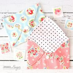 Pretty Fabric Envelopes to hold gift cards by A Spoonful of Sugar