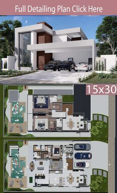 Home Design Meters 3 Bedrooms - Home Planssearch This project has the merit of being imposing, but without losing the rationality. With a modern facade in masonry, wood and glass, Simple House Design, Minimalist House Design, Modern House Design, Home Design, Beautiful House Plans, Dream House Plans, House Floor Plans, House Construction Plan, Modern Floor Plans