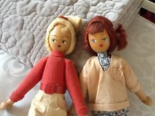 "PAIR Vintage Polish Wooden Peg Doll 1960's - 9"" Tall"