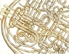 A picture of my french horn. just pencil.