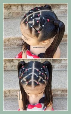 Latest And Trending Little Girl Hairstyles For a more seasoned little girl who's prepared for an increasingly refined haircut, attempt this extravagant bee sanctuary pony tails with crass cross front design. It's ideal for a formal wedding Cute Toddler Hairstyles, Easy Little Girl Hairstyles, Baby Girl Hairstyles, Kids Braided Hairstyles, Hairstyles For School, Hairstyles Haircuts, Trendy Hairstyles, Kids Hairstyle, Toddler Hair Dos