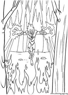Heatblast Alien coloring page