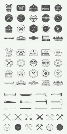 40 Carpentry Emblems - Templates PSD, Vector EPS, AI Illustrator
