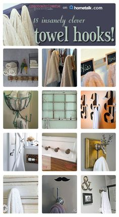 Keep those towels off the floor with these great towel hook ideas!