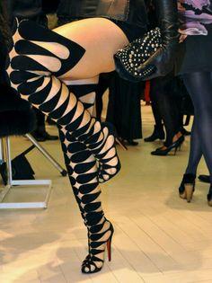 9242036738ae New Women Gladiator Sandals High Heel Stiletto Knee High Boots Punk Ladies  Shoes