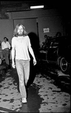 John Paul Jones, Led Zeppelin, Milan, Velodromo Vigorelli backstage entrance, 5th July 1971.