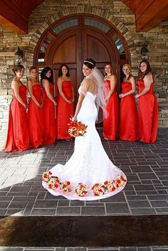 Love these bouquets for a fall wedding! Like this pose without the boquets on dress too
