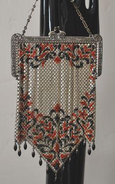 Mandalian Lustro Pearl Enamel Mesh Purse with unusual bottom and 12 dangling drops, x 8 inches Art Nouveau, Art Deco, Vintage Purses, Vintage Bags, Vintage Handbags, Vintage Shoes, Beaded Purses, Beaded Bags, Beautiful Handbags