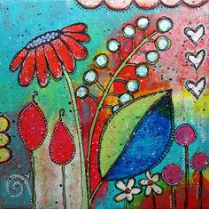 """Gum Drops"" - mixed media on canvas {doodling, acrylic paints, poster paint pens} SOLD! Doodle Art Posters, Doodle Art Journals, Art Journal Pages, Kunstjournal Inspiration, Art Journal Inspiration, Mixed Media Canvas, Chalk Art, Fabric Painting, Pattern Art"
