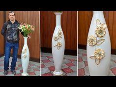 How to make a vase with your own hands Flower Crafts, Diy Flowers, Flower Vases, Plastic Bottle Flowers, Plastic Bottle Crafts, Diy And Crafts, Crafts For Kids, Cut Out Art, Paper Vase