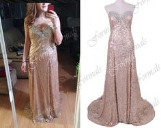 Mermaid Strapless Sequined Long Champagne Prom Dresses by Formals, $169.00
