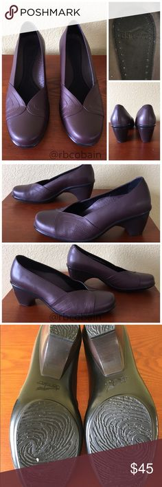 """Dansko Reese Pumps Size 40. DO NOT BUY UNLESS YOU KNOW YOUR DANSKO SIZE!! Deep purple Dansko pumps in new condition.  """"Soft lambskin leather with rounded front overlays. Carbosan anatomic foam footbed features dual-density carbon-latex for cushioning and shock absorption. Leather covered, perforated removable insole ventilates and speeds drying.""""-Dansko Smooth leather lining Anti-slip outsole Stacked heel: 2-½"""" Medium width Dansko Shoes Heels"""