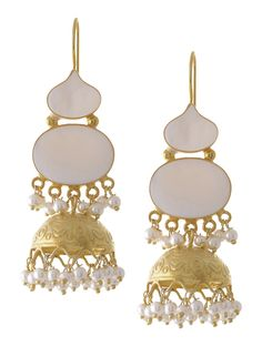 Classic Gold-Plated Mother of Pearl Silver Earrings on Jaypore.com