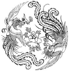 chinese phoenix line drawing Chinese Dragon, Chinese Art, Phoenix Chinese, Japanese Phoenix, Pheonix Drawing, Chinese Symbol Tattoos, Mandala, Chinese Flowers, Line Drawing