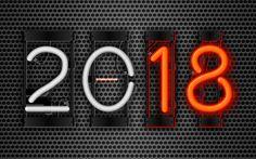 Download wallpapers 4k, 2018 year, art, neon digits, metal grid, 2018, New Year 2018, creative