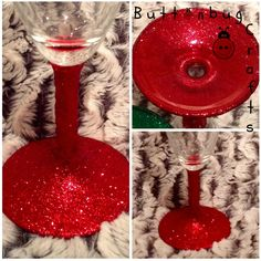Red glitter glass  £6 each. 2 for £10, 4 for £18 + p&p www.facebook.com/hellobuttonbug