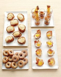 Brunch party!  Petite croques monsieurs, French toast sticks with hot mapled rum shots, prosciutto nests with eggs, & tiny apple-cider doughnuts