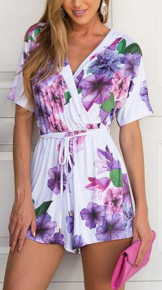 Floral romper. Summer women fashion outfit clothing style apparel @roressclothes closet ideas