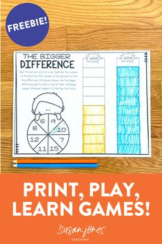 Grab a paperclip, crayons, and 1 die to play! Students roll and spin to see how find who has the bigger difference. Continue until one student reaches to top! Grab your ((free)) game! #Freebie #firstgradegames
