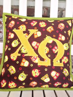 Chi omega owls pillow.