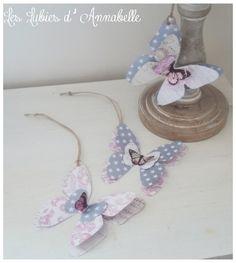 3 étiquettes papillons de papier style Shabby Chic Vintage à suspendre