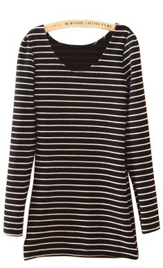 #SheInside Black Round Neck Long Sleeve Striped T-Shirt
