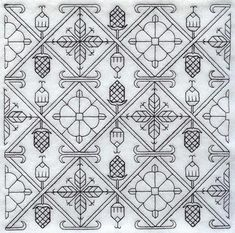 Blackwork Embroidery - Free Cross Stitch Patterns and Lessons from Blackwork Patterns, Blackwork Embroidery, Machine Embroidery Patterns, Diy Embroidery, Cross Stitch Embroidery, Cross Stitch Patterns, Embroidery Alphabet, Medieval Embroidery, Embroidery Techniques